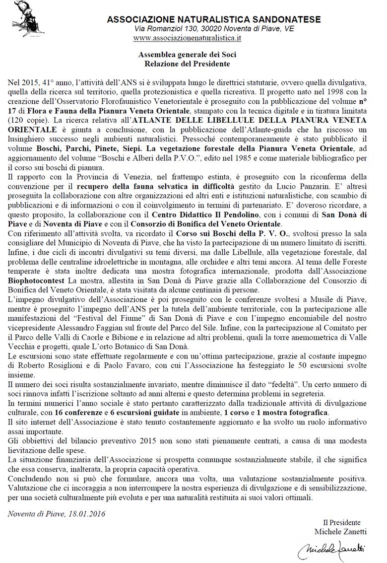 Convocazione assemblea straordinaria associazione naturalistica sandonatese comunicati stampa ANS
