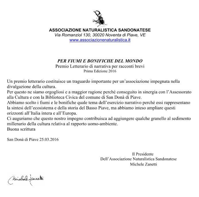 PREMIO LETTERARIO DI NARRATIVA PER RACCONTI BREVI - NOTA DI ACCOMPAGNAMENTO - Michele Zanetti
