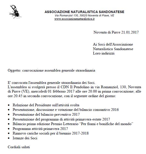 CONVOCAZIONE ASSEMBLEA GENERALE STRAORDINARIA