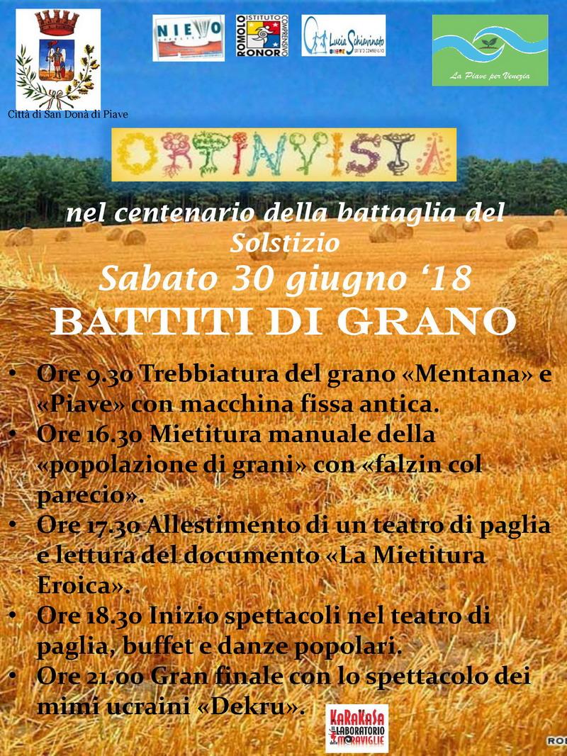 battiti di grano - Nel Centenario della Battaglia del Solstizio-associazione-naturalistica-sandonatese-michele-zanetti