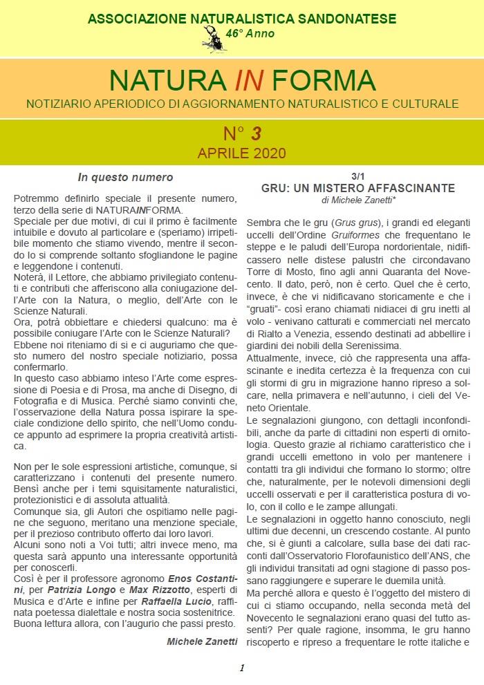 natura in forma n.3 - Notiziario aperiodico di aggiornamento naturalistico e culturale - ANS